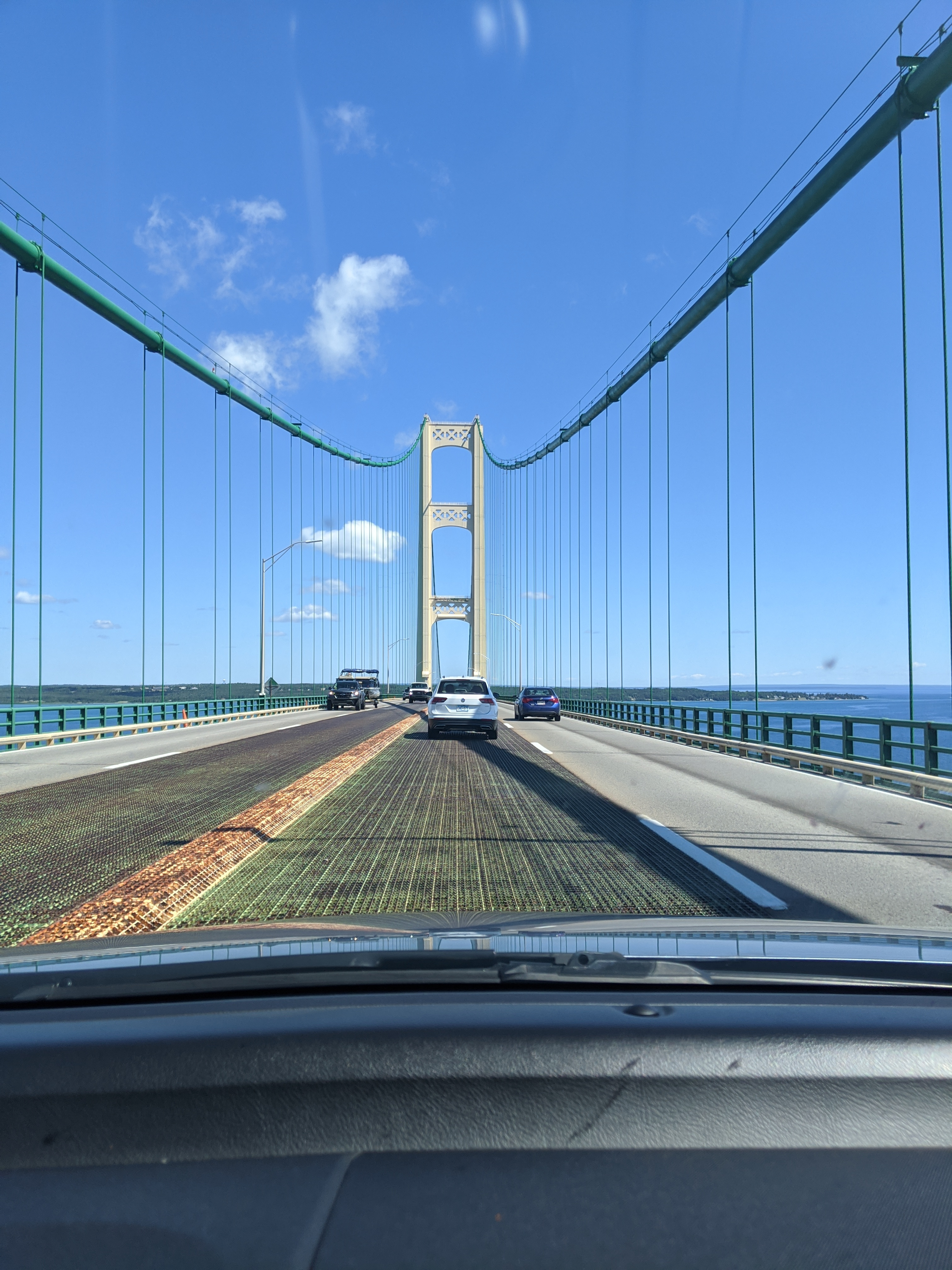 Mackinac Island Bridge with blue sky